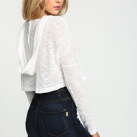 White Cropped Knit Hoodie Top