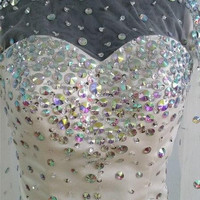 Sexy Mermaid Scoop Rhinestone Beaded Short Cocktail Dress Full Sleeves Homecoming Above Knee Open Back Party Gowns Prom Dresses