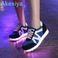 Akexiya LED Shoes Women Causal LED Luminous Shoes Lovers Fashion Women USB Light up Shoes Unisex Glowing