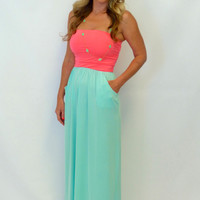 Perfection Pocket Maxi Dress: Pink/Mint