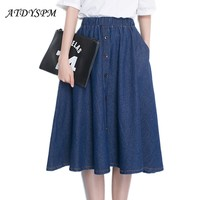 2017 Women's Brand Plus Size Jeans Skirts Elastic Waist Breatsted Midi Denim Skirt Feminino Vintage Pleated Loose Casual Skirt