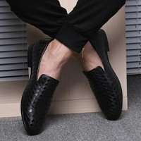 Men Luxury Brand Braid Leather Casual Loafers Moccasins Italian Shoes