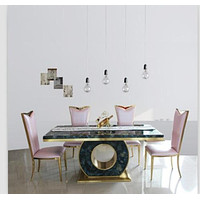 Marble Dining Table Set  Black & Rose Gold Color Or 4 Chairs