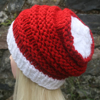 Hand Knit Hat- OceanShell Hat - Women's hat- slouchy -beanie hat-  Christmas hat-red and white