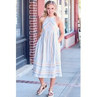 Sunshine Sage Multi-Color Striped Midi Dress - Size LARGE