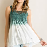 Dip Dyed Tank Top - Ivory and Green