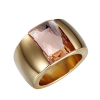 316L Stainless Steel Luxury brand big Ring Austrian Crystal Stone Ring Wedding Ring for women