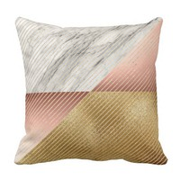 Marble Black Gray Rose Gold VIP Geometry Stripes Throw Pillow