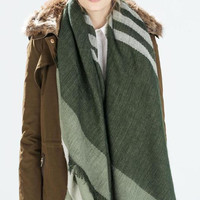 Green Striped Fringed Scarf