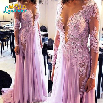 Amazing New Spring A-Line Prom Dresses 2016 Scoop Long Sleeve Side Slit  Floor Length Crystal Beads Chiffon Evening Dress