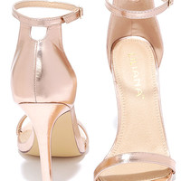 VIP Ticket Rose Gold Ankle Strap Heels