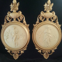 NOW ON SALE Art Deco Victorian Style Wall Hangings Set of Two Vintage Ornate Framed Syroco Pictures