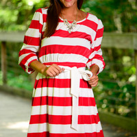 Merry Stripes Dress, Red/White