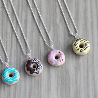 Polymer Clay Miniature Food Jewelry - Doughnut Necklace