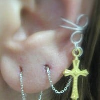 Silver pl. EAR Cuff with 925k Earring Threader - Gold Pl. Cross charm