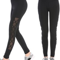 Fish net Mesh Side Active Wear Leggings , Black