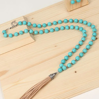 Suede Tassel Turquoise Necklace & Earring Set