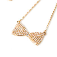 Pearlescent Bow Pendant Necklace