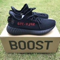 Best Online Sale Kanye West x Adidas Yeezy 350 V2 Boost Core Black /Core Black Solar Red Sport Shoes  Running Shoes CP9652