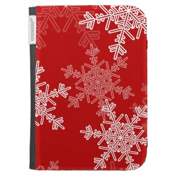 Girly red and white Christmas snowflakes Case For The Kindle