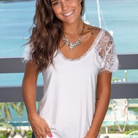 Ivory Top with Lace Sleeves