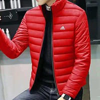 ADIDAS winter plus velvet warm men's collar collar cardigan cotton clothing red