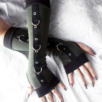 Midnight Recon - Gothic Unisex Bondage Arm Warmers - Dark Army Olive Sage Green - Silver Metal D Rings - Vampire Fetish Cyber Goth