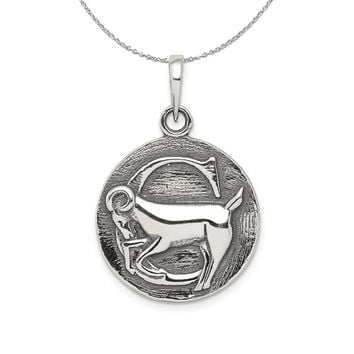 Sterling Silver Capricorn the Goat Zodiac Embossed Circle Necklace