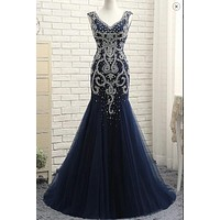 Navy Prom Dress 2021, Evening Dress, Formal Dress, Ball Gown, Cocktail & Party Dresses CD0140