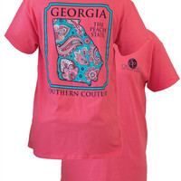 SALE Southern Couture Georgia Preppy Paisley State Pattern Peach State Girlie Bright T Shirt