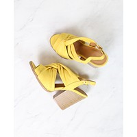 Knot Your Basic Pair Slingback Ankle Strap Wooden Heel Sandals in Yellow Suede