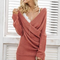 Sexy V Neck Wrap Look Short Sweater Dress 4 Colors