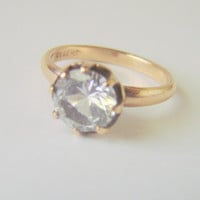 Vintage Uncas Solitaire 10K Gold Filled Ring / Designer Signed / Retro Jewelry / Jewellery