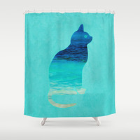 SEA CAT Shower Curtain by Catspaws