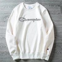 Champion New Fashion Bust Letter Thick Keep Warm Couple Long Sleeve Top Sweater White