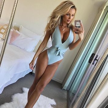 Deep-V One Piece Swimsuit Female Backless Bodysuit Brazilian Monokini Swimwear Women Bathing Suit Swimming Plus size