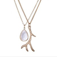 Silver Deer Antler Pendant Long Sweater Chain Necklace Gifts