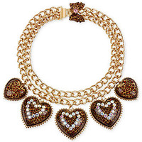 Betsey Johnson Necklace, Antique Gold-Tone Leopard Heart Frontal Necklace - All Fashion Jewelry - Jewelry & Watches - Macy's
