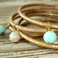 Engraved Brass Bangles: Turquoise Fire Agate Beaded Indian Jewelry, Bohemian Gypsy Stack Bracelet Set, Boho Belly Dance Bollywood, India