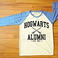 Hogwarts Alumni T-Shirt Harry Potter Shirt Hogwarts Shirt Blue Sleeve Tee Shirt Women Shirt Men Shirt Unisex Shirt Baseball Tee Shirt S,M,L