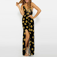 Sunflower Print V-Neck Sleeveless Backless Maxi Slit Dress