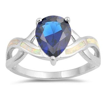 Teardrop Blue Sapphire with White Lab Opal Smooth Inlay in Criss Cross Thumb Band