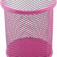VIP Home Essentials Compact Room Saving Mesh Office & Home Desk or Counter Pencil Cup, Pink