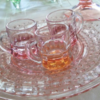 3 Federal Stamped Shot Glasses With Handless