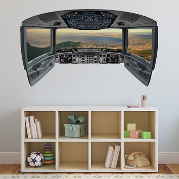 Beach Window Wall Sticker | Airplane Pilot Cockpit Wall Decal