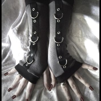 Gothic Unisex Arm Warmers - Charcoal Grey & Black w/ Silver Metal D Rings - Legion - Goth Visual Bondage Fetish Cyber Dark Fusion Bellydance