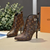LV Women Casual Shoes Boots fashionable casual leather Women Heels Sandal Shoes created