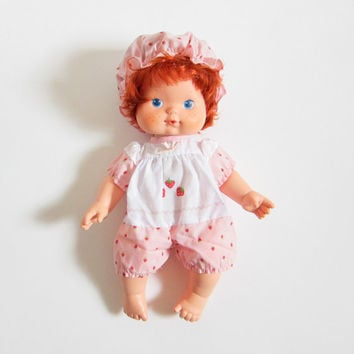 Blow Kiss Strawberry Shortcake Doll Vintage Baby Blowkiss with Hat & Outfit, Red Hair