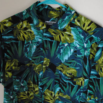 American Apparel Jungle Leaves Hawaiian Shirt