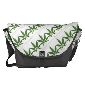Pot Leaf Print Messenger Bag